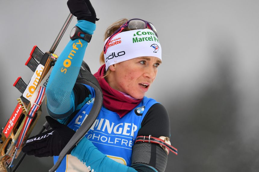 La jurassienne Anaïs Bescond sur la manche allemande de la coupe du monde de biathlon à Ruhpolding, en janvier 2017
