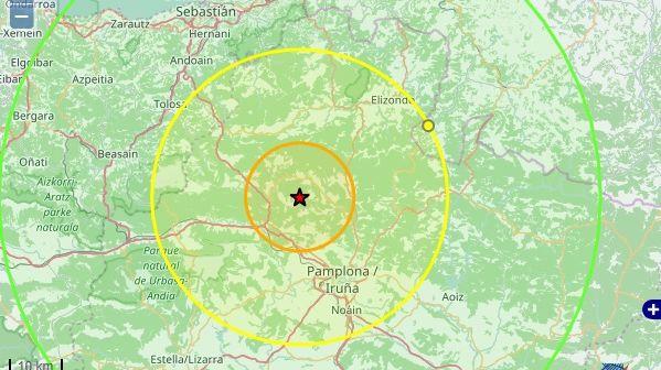 Un tremblement de terre de 4,6 sur l'échelle de Richter au nord ouest de Pampelune
