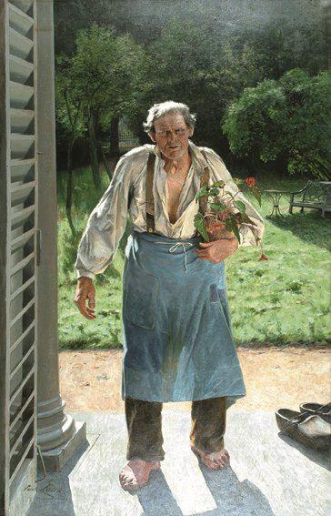 Emile Claus Le Vieux jardinier 1885 huile sur toile ; 216 x 140 cm Belgique, Liège Musée des Beaux-Arts / La Boverie