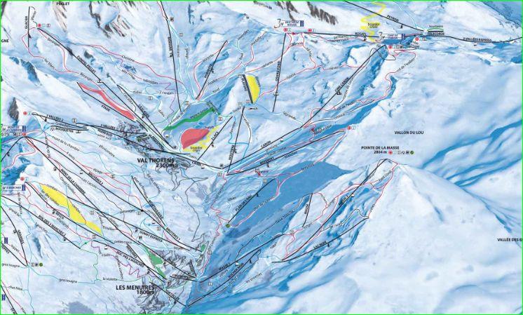Le Vallon du Lou se situe entre La Cime Caron et la Pointe de la Masse, deux secteurs aménagés des domaines de Val Thorens et des Ménuires