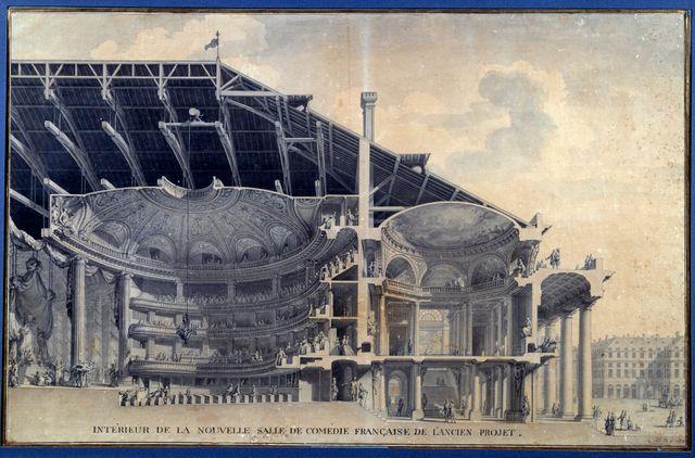 """""""Vue de l'intérieur de la nouvelle salle de la Comédie Française de l'Ancien Projet"""" (Actuel Théâtre de l'Odéon). Projet à l'aquarelle de Marie Joseph Peyre (1730-1785) et Charles de Wailly (1729-1798)"""