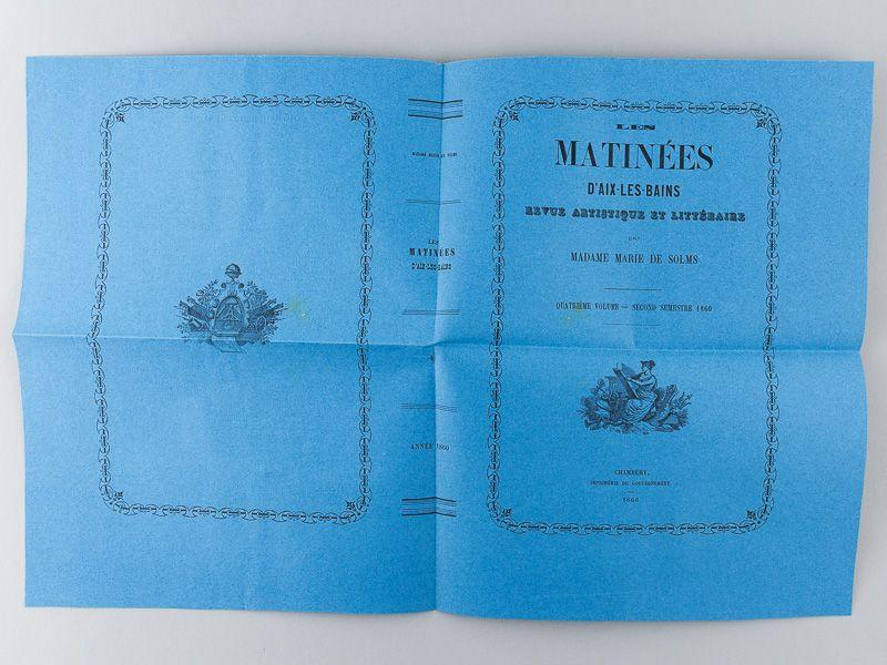 Les Matinées d'Aix-les-Bains, revue artistique et littéraire par Marie de Solms