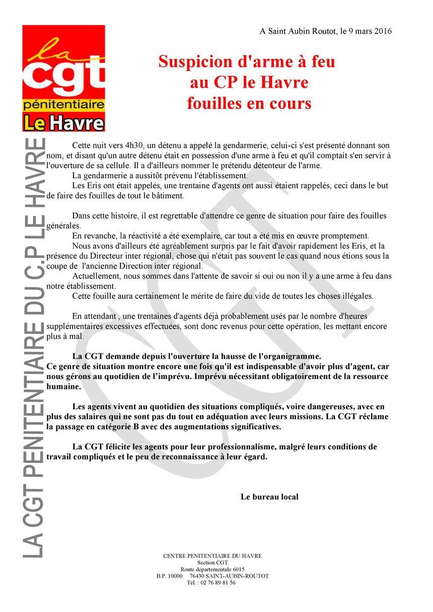 Communiqué de la CGT pénitentiaire du Havre