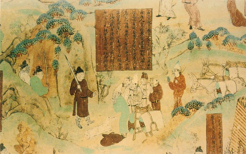 Marchands, dynastie Tang, Grottes des mille Bouddhas de Bezeklik, Chine. Peint sur le mur sud de la grotte n°45