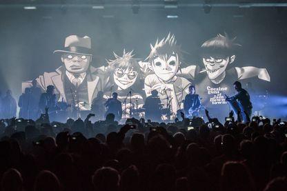 """Gorillaz en concert pour présenter leur album """"Humanz"""" le 24 mars 2017 à Londres"""