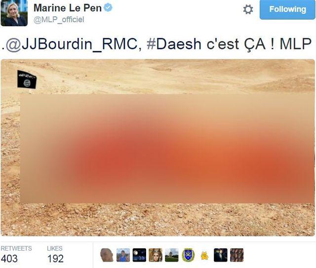 Marine Le Pen avait supprimé son tweet après la polémique.