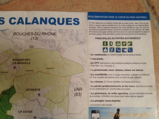Sur ce dépliant officiel du Parc des Calanques, le VTT est autorisé.. presque partout - Radio France