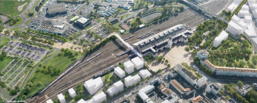 Vue aérienne du secteur de la gare avec le nouveau parvis et la passerelle de Marc Mimram