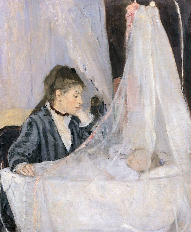 """""""Le Berceau"""" de Berthe Morisot (1841 - 1895). Huile sur toile, 1872, au Musée d'Orsay, Paris. Les sujets représentés sont Edma, la sœur de Berthe et sa fille Blanche."""