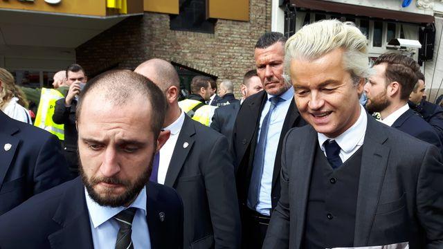 Le leader populiste néerlandais Geert Wilders, en campagne samedi 11 mars 2017 dans le sud des Pays Bas à Valkenburg