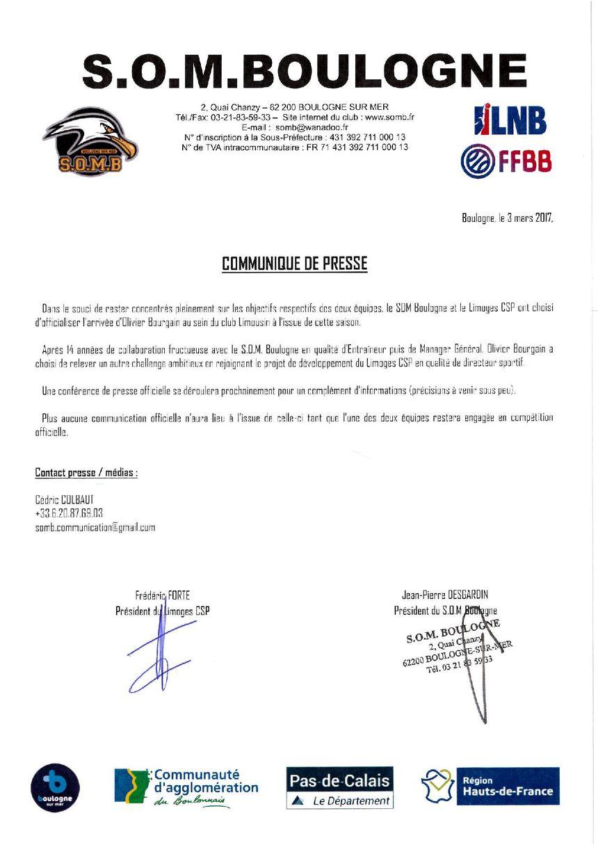 Le communiqué de presse du S.O.M Boulogne.
