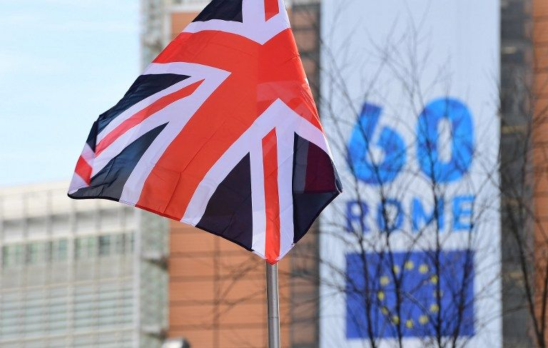 L'Union Jack devant le Parlement européen le 21 mars 2017