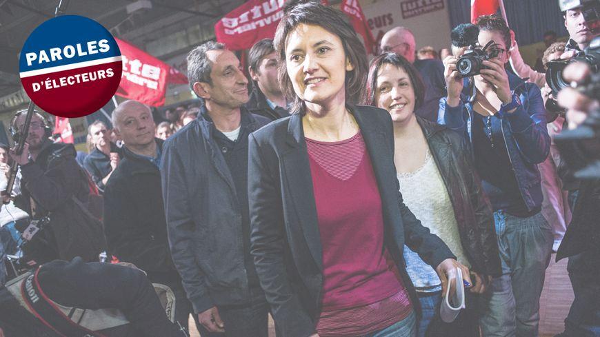 La candidate du parti Lutte Ouvrière pour la présidentielle, Nathalie Arthaud, lors d'un meeting