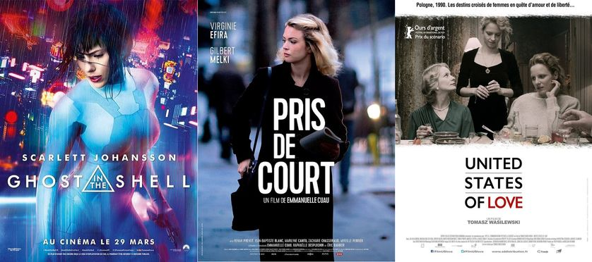 """Affiches """"Ghost in the shell"""", """"Pris de court"""", et """"United states of love"""""""