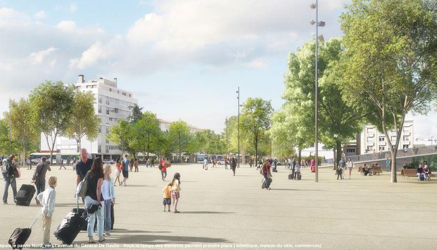 illustration du futur parvis donnant sur le centre ville