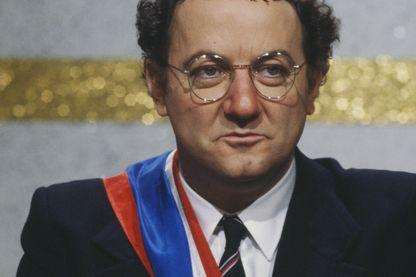 Coluche pendant sa campagne électorale pour la présidence française en 1981.