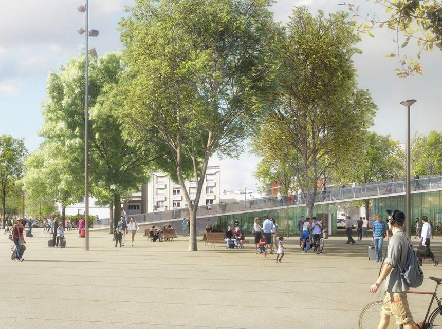 Passerelle vue depuis le parvis devant la gare de La Rochelle