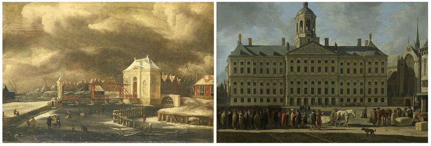 De Heiligewegspoort te Amsterdam in de winter (1660-80), par Jan van Kessel  / The Town Hall on Dam Square, Amsterdam (1672) par Gerrit Berckheyde