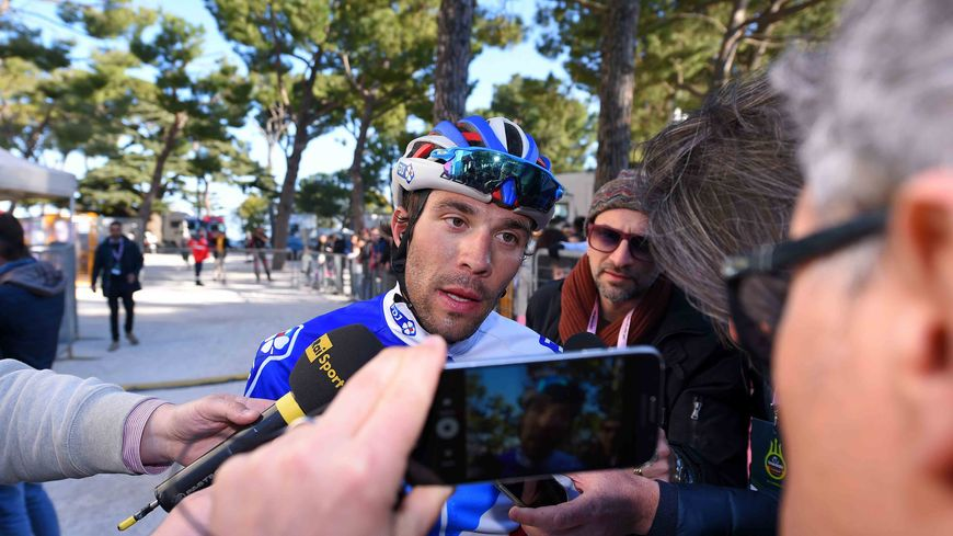 Thibaut Pinot à l'arrivée de ce dernier CLM sur Tirreno- Adriatico 2017, remporté par Nairo Quintana