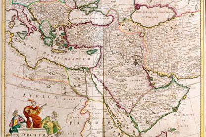 "Carte de l'empire turc - Eau forte extraite de ""Theatrum Orbis"", 1671, de Frederick De Wit (Frederico de Witt) (1630-1706)"