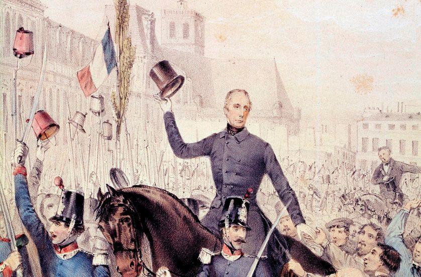 Lamartine et Ledru Rollin (Ledru-Rollin) (1807-1874) au retour de l' hôtel de ville le 15 mai 1848. Gravure de 1848.