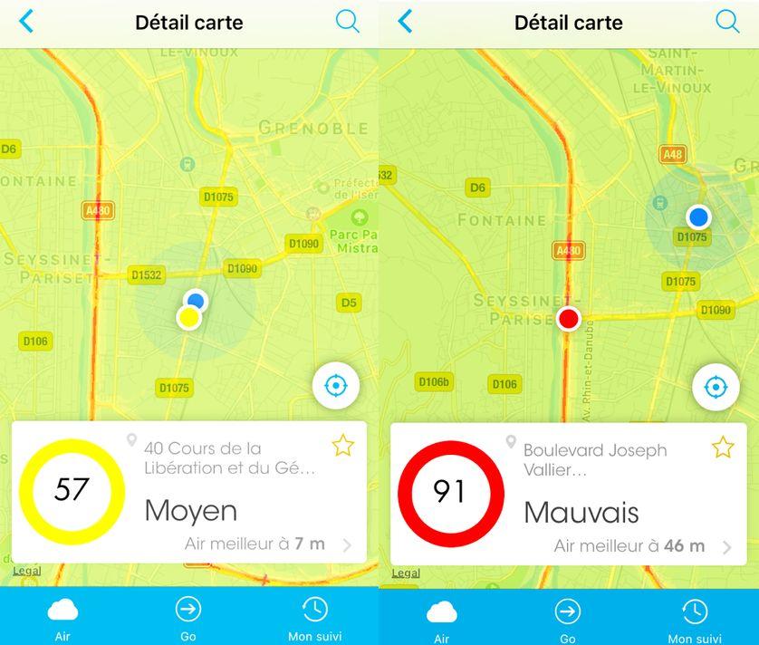 Captures d'écran d'Air to go, une application mobile mesurant la qualité de l'air à Grenoble (pas encore disponible sur Androïd)