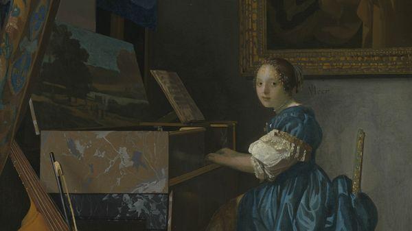 Quelle musique voyez-vous sur Jeune femme assise au virginal de Johannes Vermeer, vers 1671-1674