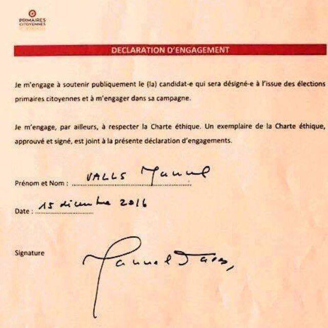 La déclaration d'engagement de Manuel Valls à la Primaire