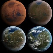 Vue d'artiste de la formation de la Terre en quatre étapes