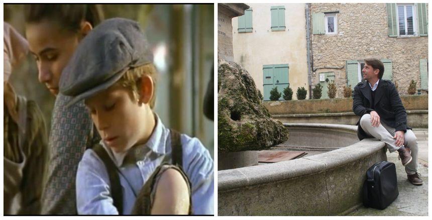 Alain, 10 ans, en gros plan dans Manon des Sources / Alain, 42 ans, assis sur la fontaine de Mirabeau (capture écran / Photo 2017) - Radio France