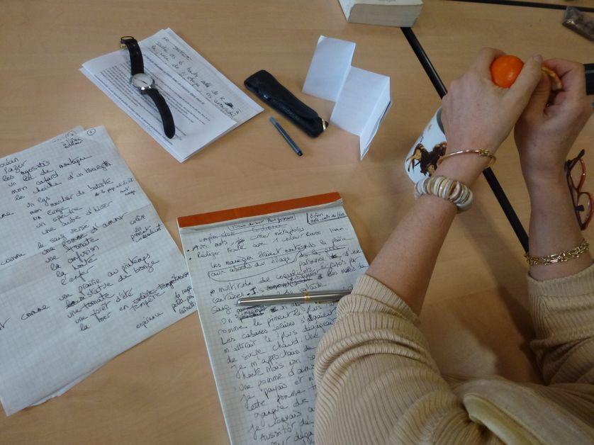 Atelier d'écriture avec Cécile Loustalot  dans le cadre de l'exposition L'Alchimie des pigments de Georges le Bayon le 21 janvier 2017