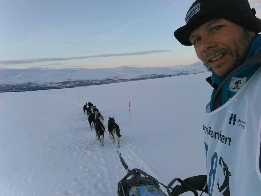 Thibaut Branquart lors de la course norvégienne de mushers, la Femundlopet