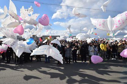 Service commémoratif pour les victimes du tsunami de 2011 à Natori, préfecture de Miyagi, le 11 mars 2017.