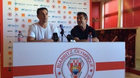 Nicolas Brusque, président du BOPB, ici avec l'entraîneur David Darricarrère