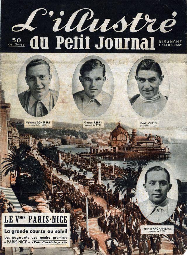 """Cinquième course cycliste """"Paris-Nice"""" avec les portraits d'Alphonse Schepers, Gaston Rebry, Rene Vietto, Maurice Archambaud"""