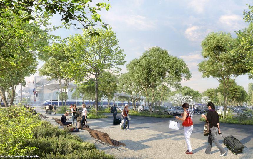 Passerelle de la gare vue depuis le quartier Tasdon au Sud de la gare de La Rochelle