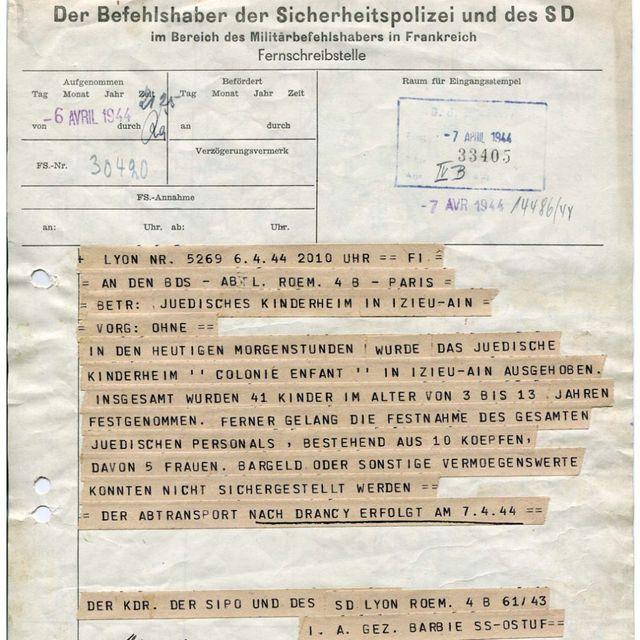 Le télégramme signé par Klaus Barbie, envoyé après la rafle des 44 enfants d'Izieu et conservé au Mémorial de la Shoah