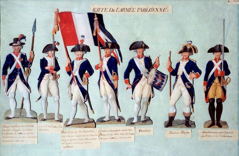 L'armée parisienne sous la révolution française - Gouache des frères Lesueur (18ème siècle), 1789. Paris, Musée Carnavalet.