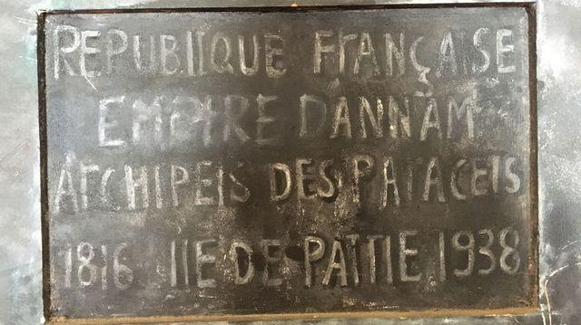 La plaque française au musée de l'île de Ly Son