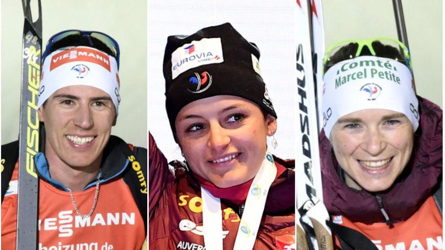 Les Francs-Comtois de l'équipe de France de biathlon : Quentin Fillon-Maillet, Célia Aymonier et Anaïs Bescond