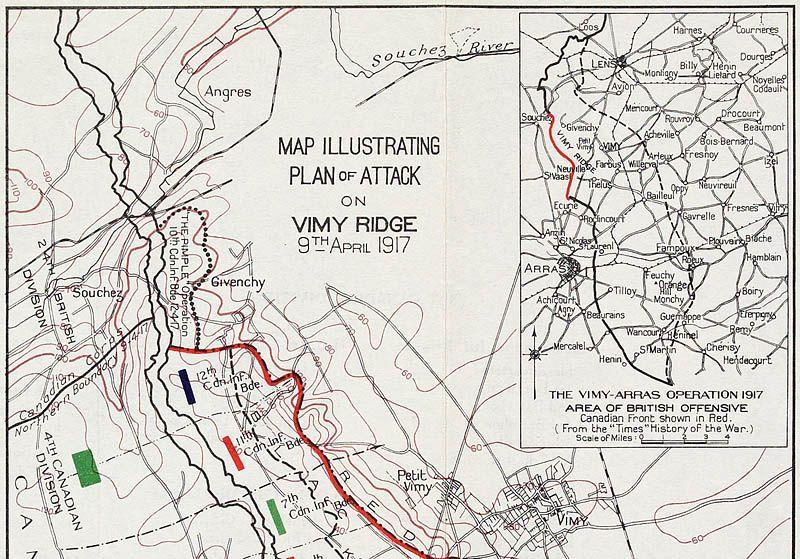 Plan de l'offensive sur la crête de Vimy le 9 avril 1917