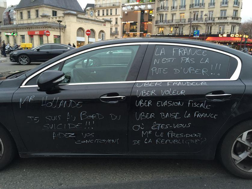 Manifestation des chauffeurs de taxi contre Uber - décembre 2016