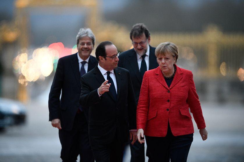 Paolo Gentiloni, François Hollande, Mariano Rajoy et Angela Merkel à Versailles le 6 mars 2017