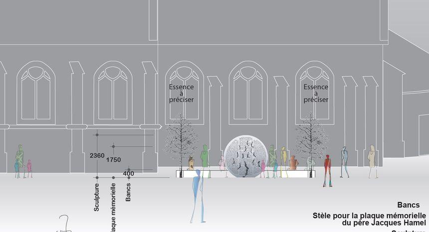 La sculpture sera juste à côté de l'église