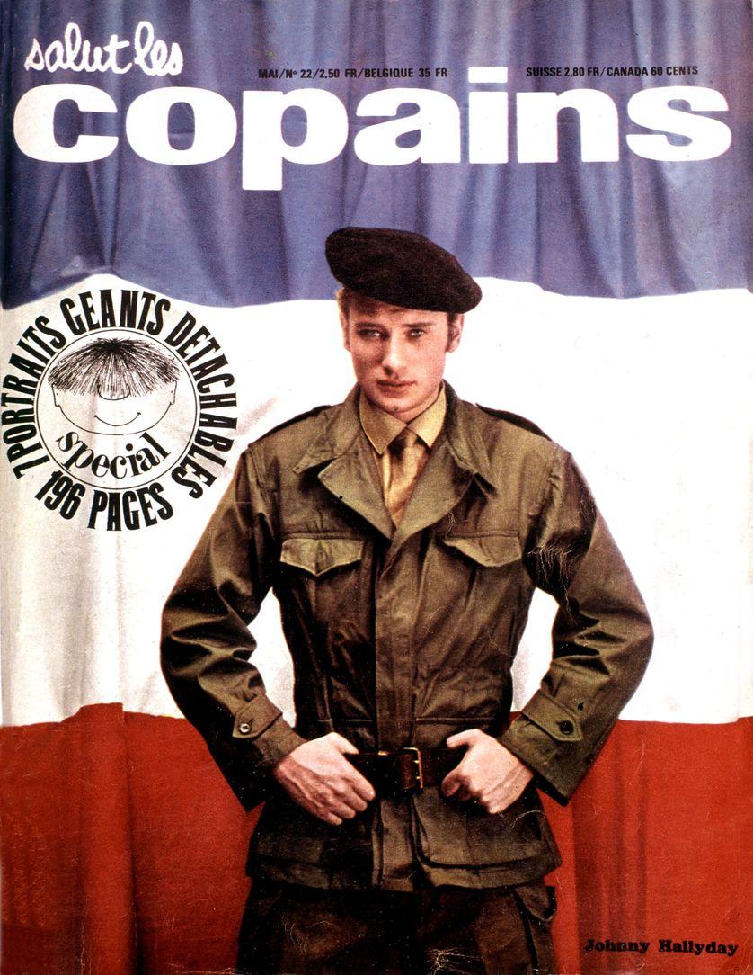 """Une du magazine """"Salut les copains"""" représentant Johnny Hallyday lors de son service militaire"""