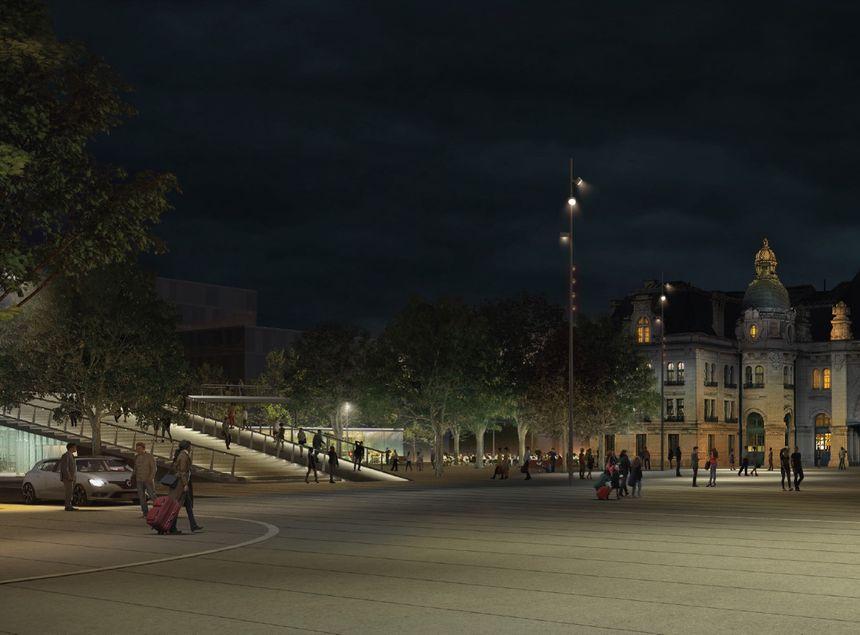 Vue de nuit illustration, avec passerelle éclairée