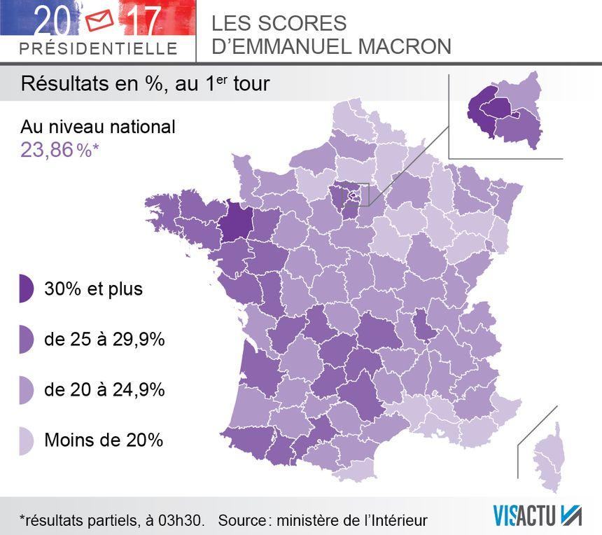 Le vote Macron au premier tour de la présidentielle, département par département.