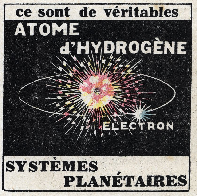 L'atome et la science : atome d'hydrogène. Illustration anonyme de 1925 (Collection privée)
