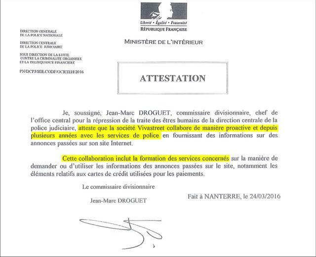 Attestation de Jean-Marc Droguet