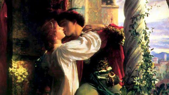 Roméo et Juliette, scène du balcon, peinture (détail) de Frank Bernard Dicksee (1884)